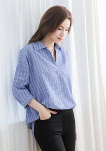 日雜格調直條紋棉麻襯衫