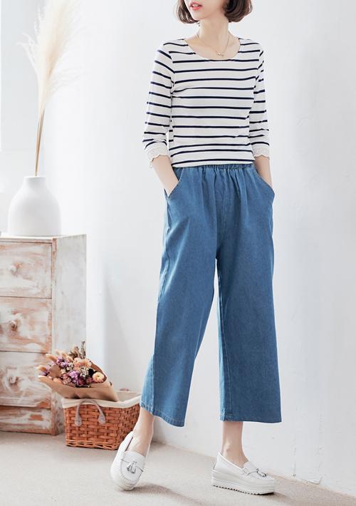韓版修身鬆緊腰牛仔寬褲