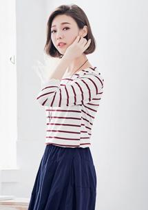 【限時$168】甜柔布蕾絲條紋上衣