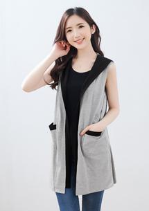 【限時$239】韓版配色連帽背心外套