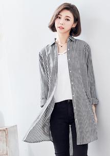 隨性慵懶直條紋長版襯衫
