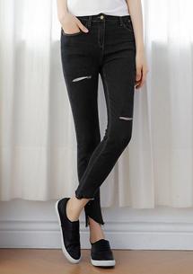 【限時$299】造型褲口割破彈性牛仔褲