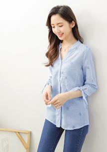 韓版直條紋袖綁結襯衫