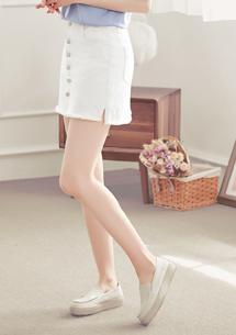多色排釦抽鬚牛仔短裙