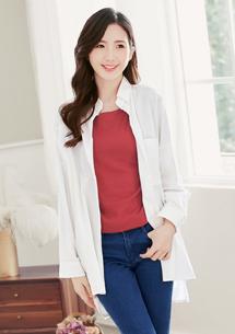 自然色系長版棉質襯衫