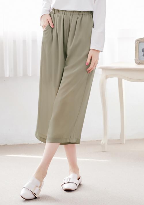 俐落有型微透壓紋寬褲