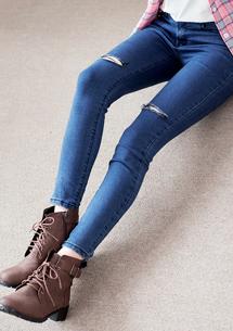 韓版割破窄管牛仔褲-牛仔藍