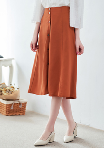 飄逸質感排釦長裙