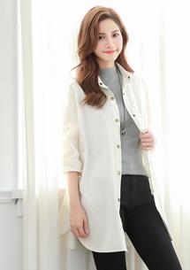 韓款時尚銅釦長版外套