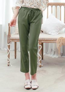 舒適率性修身抽繩長褲-綠