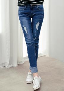 時尚刷色彈性反折牛仔褲