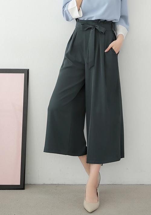 時尚單品厚雪紡緞帶寬褲