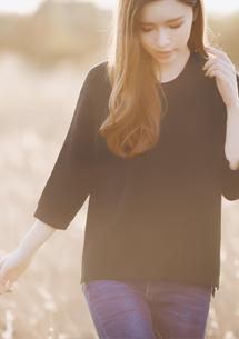 微醺春漾短版針織衫-黑