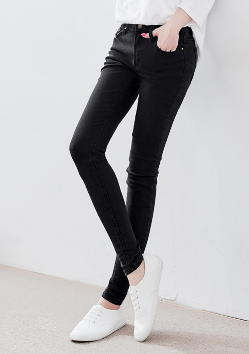 高彈顯瘦延展窄管褲