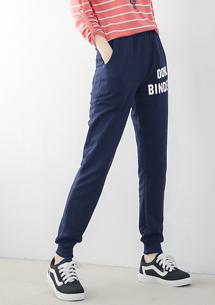 字母印花休閒棉褲-深藍