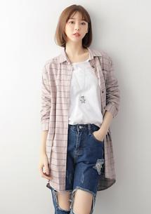 愜意季節輕磨毛格紋襯衫
