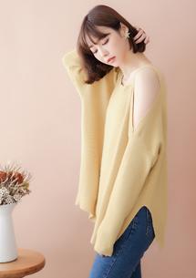 甜柔香肩兔絨針織毛衣