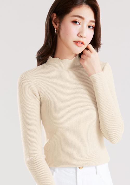 【限三天$199】花邊小高領針織衫