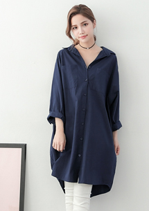 慵懶姿態棉質長版襯衫