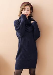 微暖冬日針織毛衣-附圍巾