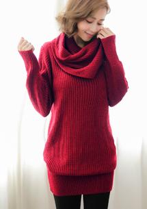 針織毛衣-附圍巾