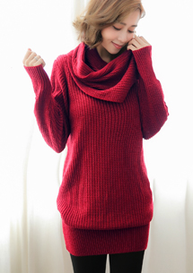 微暖冬日針織毛衣-附圍巾-紅