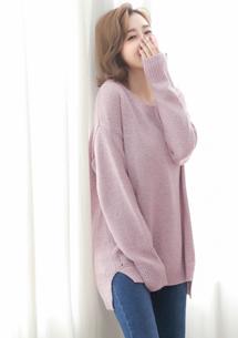 清閒簡約混色針織毛衣