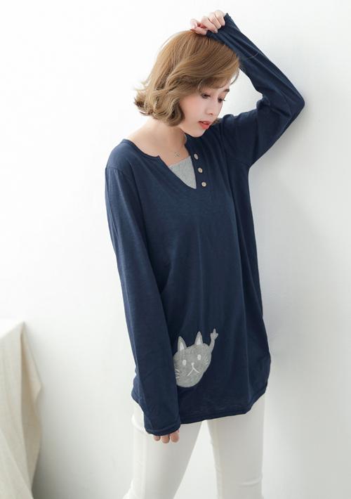 貓咪假兩件竹節棉上衣