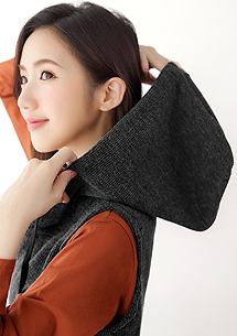 韓款針織連帽背心洋裝