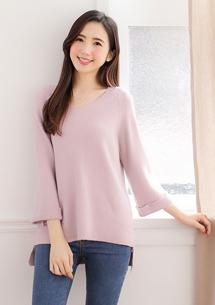 反折袖針織毛衣-粉