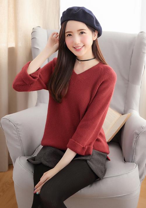 反折袖針織毛衣