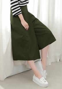 簡約設計大口袋寬褲裙