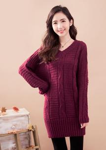 慵懶暖感V領針織長毛衣