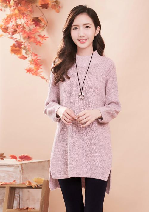 暖系色調混紡針織長毛衣