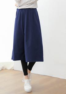 造型假兩件磨毛內搭褲裙-深藍