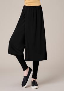 造型假兩件磨毛內搭褲裙-黑