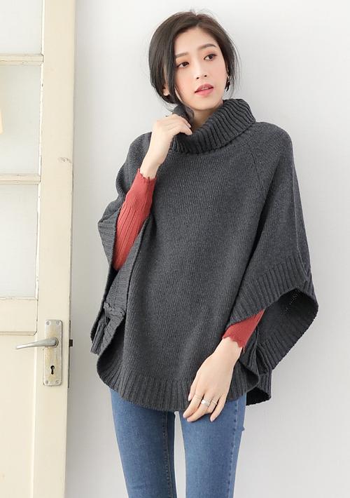 甜美高領斗篷針織毛衣