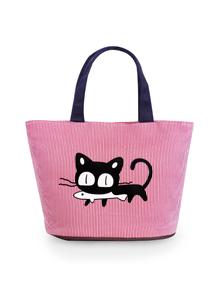 俏皮貓咪條紋手提包