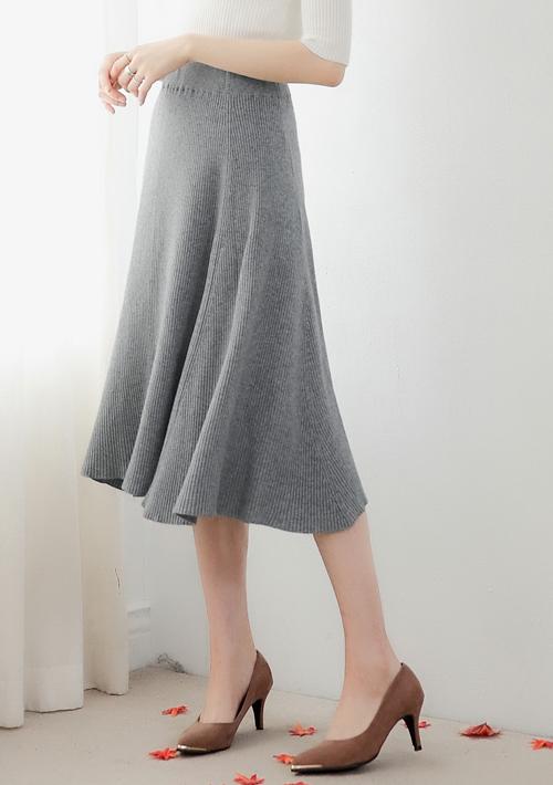 優雅美學傘擺針織長裙