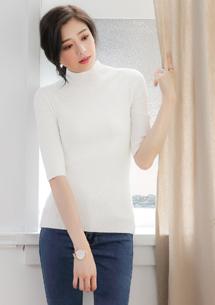 立領五分袖針織上衣-白