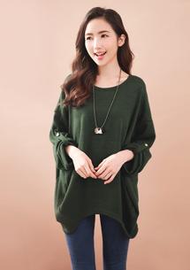 經典品味反摺袖針織上衣-軍綠