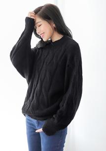 慵懶暖冬麻花針織毛衣