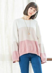 日系簡約配色針織毛衣