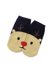 可愛麋鹿舒適柔彈短襪