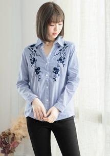 復古刺繡雕花直條紋襯衫