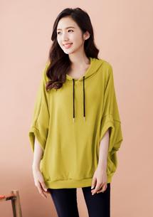 造型袖針織連帽寬版上衣-芥黃