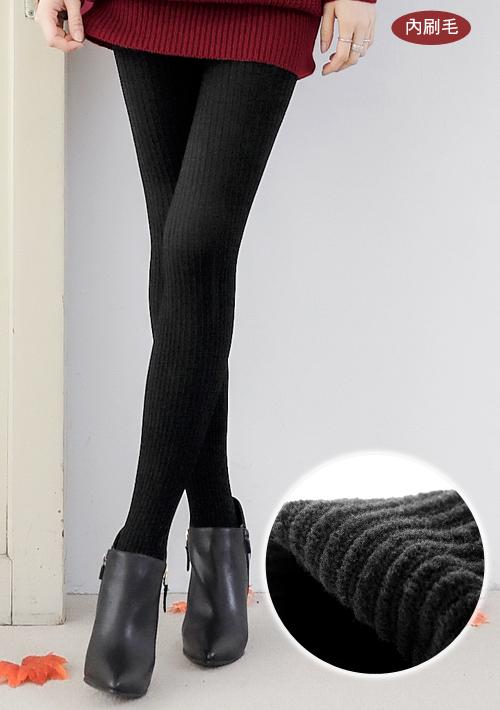 顯瘦立體坑條內刷毛褲襪