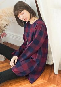 日系氛圍格紋厚棉麻洋裝