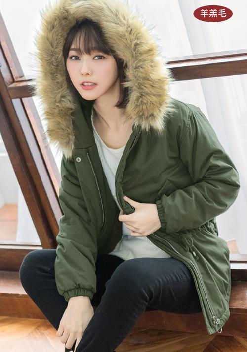 厚毛領羊羔絨外套