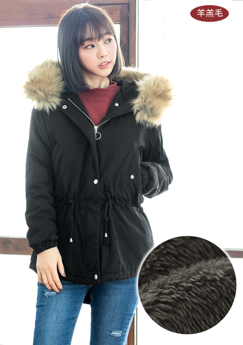 暖感蓬厚毛領羊羔絨外套